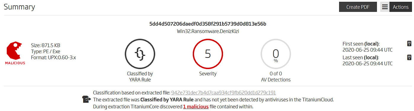 Threat detection with a YARA rule