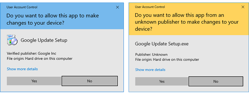 Figure 1) - User Account Control warning dialog on Windows