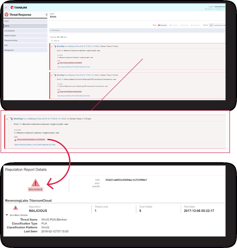 Views of ReversingLabs file context in EDR (Tanium) Interface