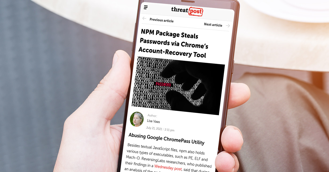 NPM Package Steals Passwords via Chrome's Account-Recovery Tool