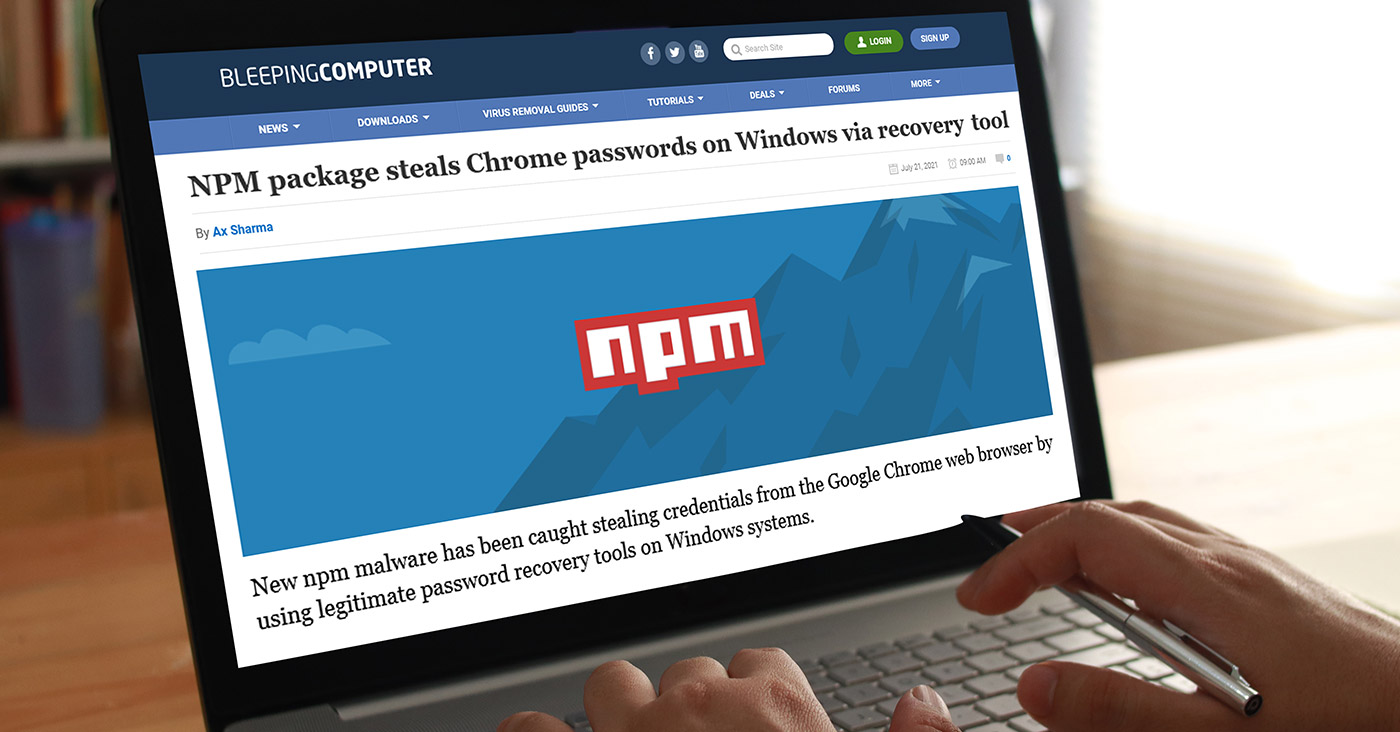 NPM package steals Chrome passwords on Windows via recovery tool
