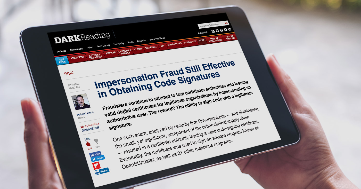 DARKReading interviews ReversingLabs co-founder Tomislav Pericin about recent impersonation fraud research