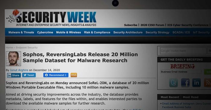 Sophos, ReversingLabs Release 20 Million Sample Dataset for Malware Researc