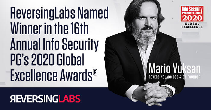 ReversingLabs Named Winner in the 16th Annual Info Security PG's 2020 Global Excellence Awards