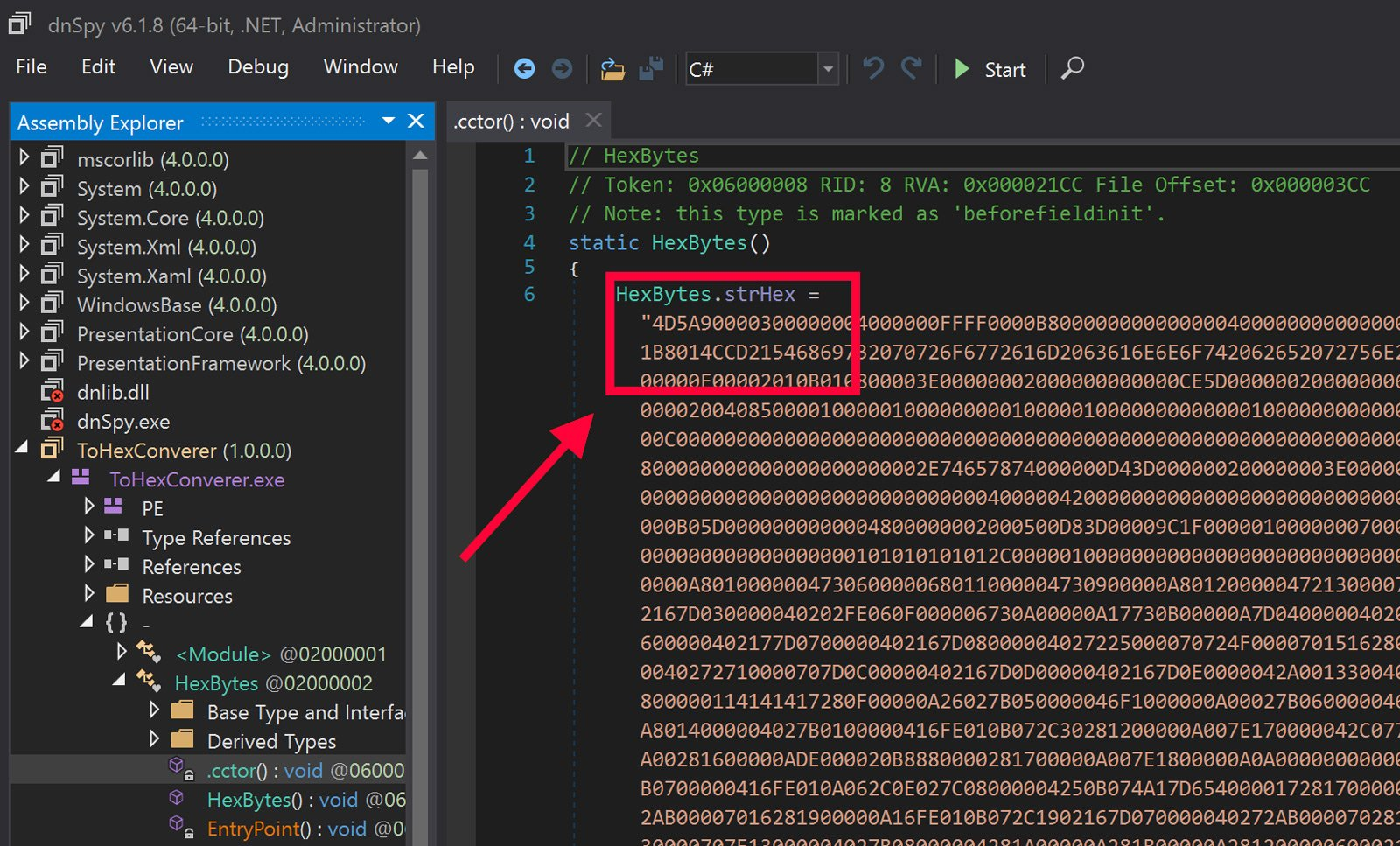 PE File Encoded as Text and Embedded in .NET Code