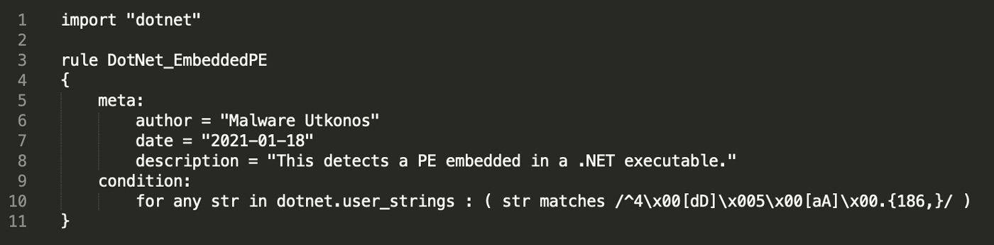 YARA Rule to Match Files with an Embedded PE Executable