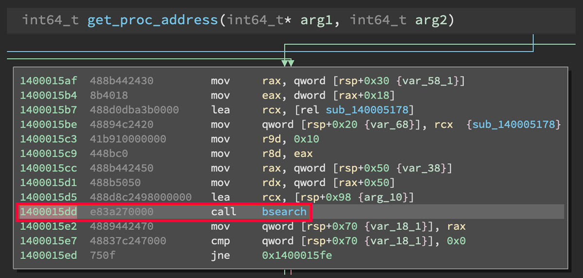 Function Call to bsearch in Custom GetProcAddress