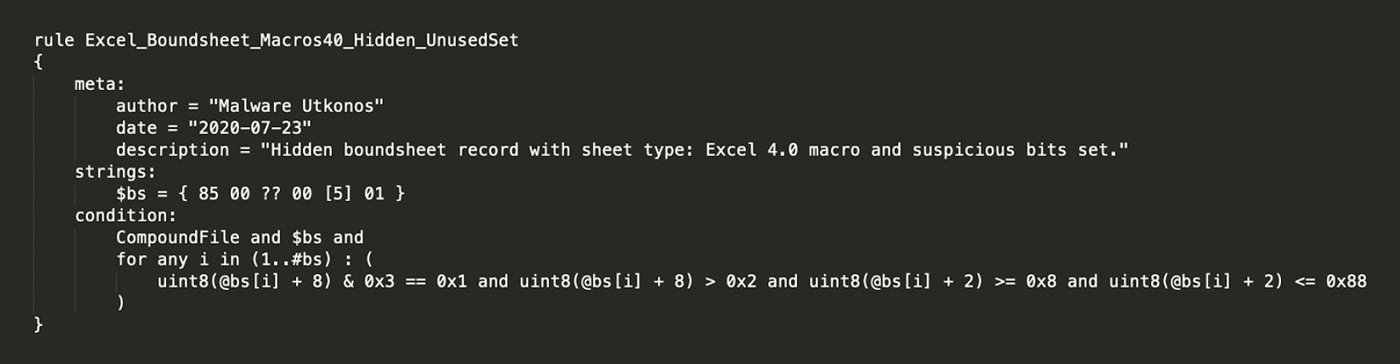 YARA Rule for Detecting Excel 4.0 Macros in a Hidden Sheet with Suspicious Bits