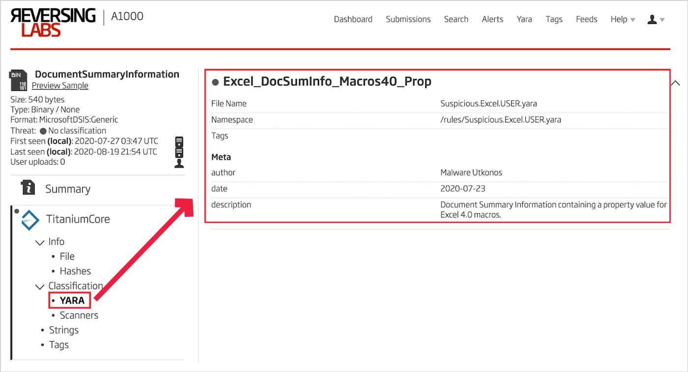 Excel 4.0 Macros YARA Rule Match
