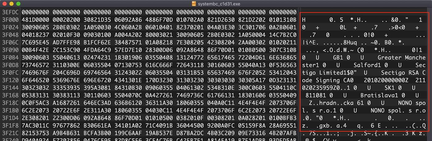 Cryptographic Signature Blob
