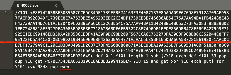 Encapsulated PostScript with XOR Encoded Data