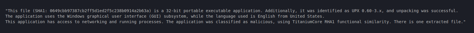 Human readable File Analysis output