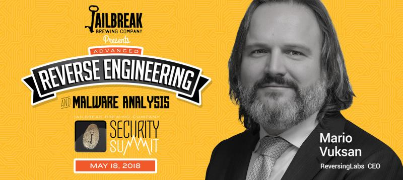 Mario Vuksan, CEO of ReversingLabs, speaking at the Jailbreak Brewing Company Security Summit